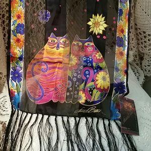 NWT Laurel Burch Silk Scarf, Cat Design